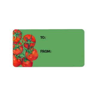 Red Tomatoes green Gift Tag Address Label