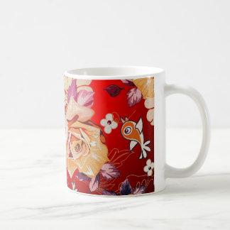 Red Tones Rustic Hand Drawn Rose & Birds Coffee Mug