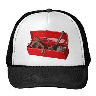 Red tool box trucker hat