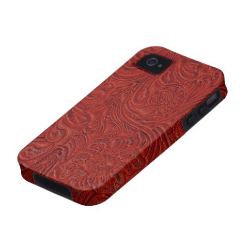 Red Tooled Leather Look Cowboy Country iPhone 4/4S Covers