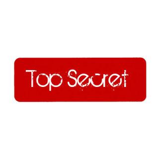 Red Top Secret Label Return Address Label