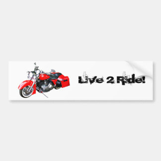 Red Touring Motorcycle Bumper Sticker