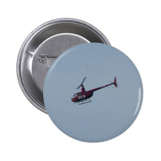 Red tourist helicopter. 6 cm round badge