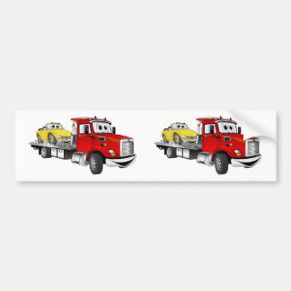 Red Tow Truck Flatbed Cartoon Bumper Sticker