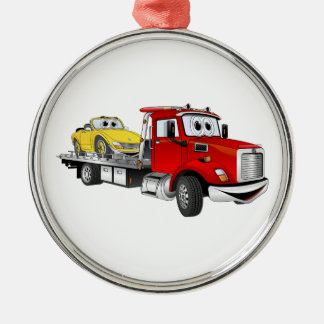 Red Tow Truck Flatbed Cartoon Metal Ornament