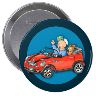 Red Toy Car Boy & Dog Round Button