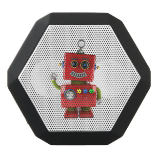 Red toy robot waving hello