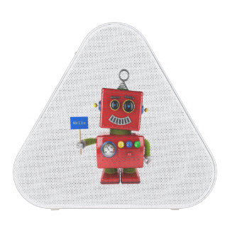 Red toy robot with hello sign
