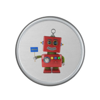 Red toy robot with hello sign speaker
