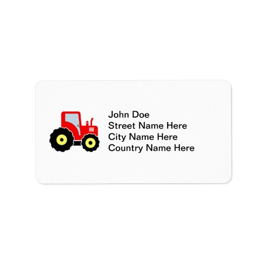 Red toy tractor label
