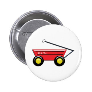 Red Toy Wagon 6 Cm Round Badge