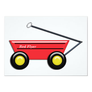 "Red Toy Wagon 5"" X 7"" Invitation Card"