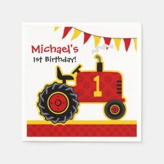 Red Tractor 1st Birthday Disposable Napkin
