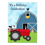 Red Tractor and Blue Barn Birthday Invite ~ Boys 13 Cm X 18 Cm Invitation Card
