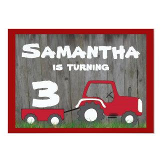 Red Tractor Birthday Invitation: Age in Cart 13 Cm X 18 Cm Invitation Card