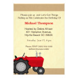 Red Tractor Birthday Invitations