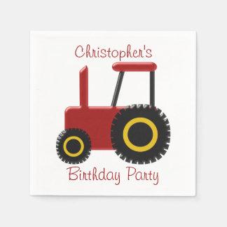 Red Tractor Birthday Paper Serviettes