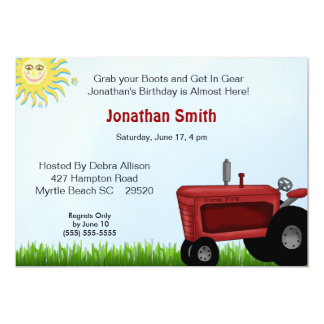Red Tractor Birthday Party Invitation