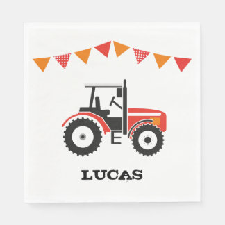 Red Tractor Birthday Party Paper Napkin