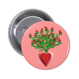 Red Tractor Bouquet Button