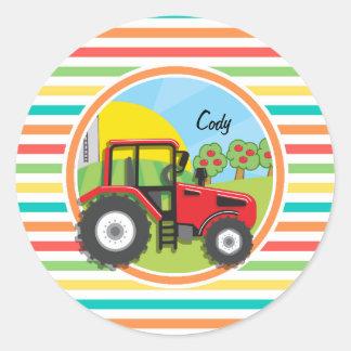 Red Tractor; Bright Rainbow Stripes Round Sticker