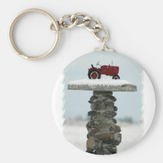 Red Tractor Button Keychain