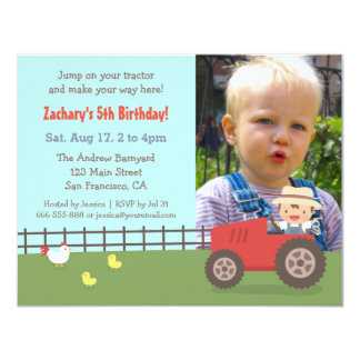 Red Tractor Farm Birthday Party Photo Invitations