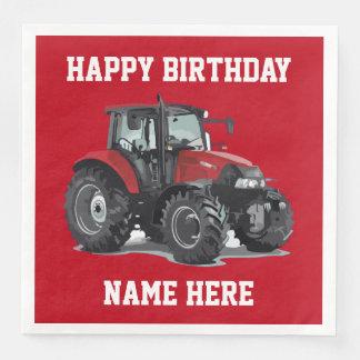 Red Tractor Farming Birthday Napkins Paper Serviettes