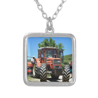 Red Tractor on El Camino, Spain Silver Plated Necklace