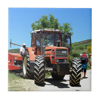 Red Tractor on El Camino, Spain Tile