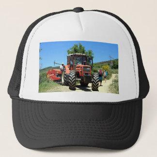 Red Tractor on El Camino, Spain Trucker Hat