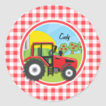Red Tractor on Red and White Gingham