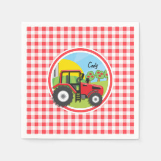 Red Tractor on Red and White Gingham Paper Napkin