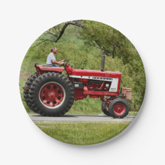 Red Tractor Paper Plate