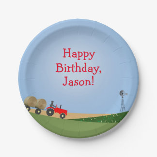 Red Tractor Party Plates