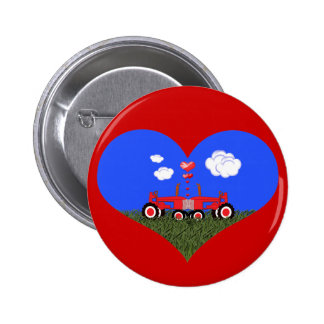 Red Tractor Valentine's Day Pinback Button