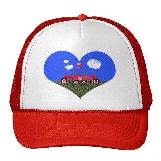 Red Tractor Valentine's Day Trucker Hat
