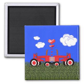 Red Tractor Valentine's Day Fridge Magnet