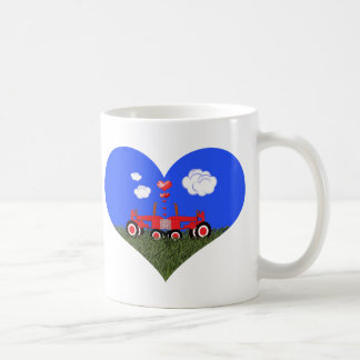 Red Tractor Valentine's Day Mugs