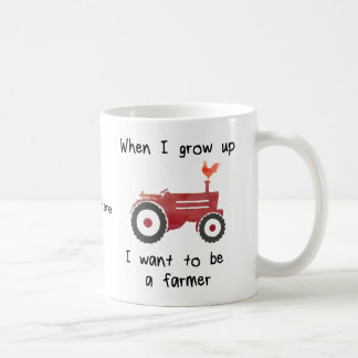 Red Tractor with chicken-I want to be a farmer. Coffee Mug
