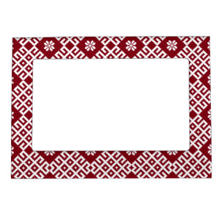 Red traditional Baltic Latvian Pattern Design Magnetic Picture Frame
