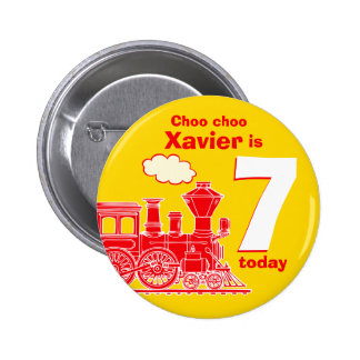 Red train birthday name and age yellow badge