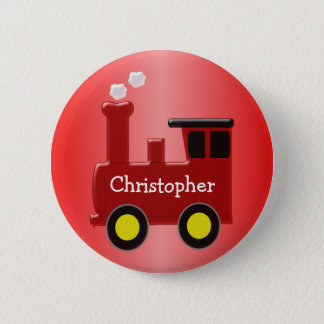 Red Train Just Add Name 6 Cm Round Badge