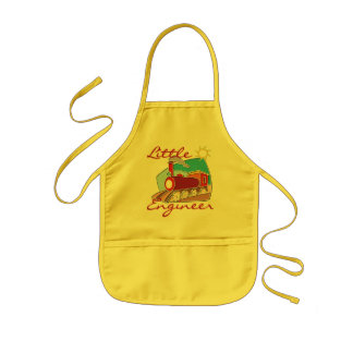 Red Train Little Engineer Tshirts and Gifts Kids Apron