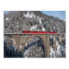 Red Train Pine Snow Covered Mountains Switzerland Postcard