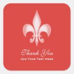 Red Transparent Fleur de Lis Thank You