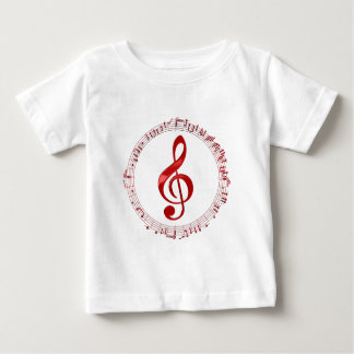 Red Treble Clef In Music Notes Baby T-Shirt