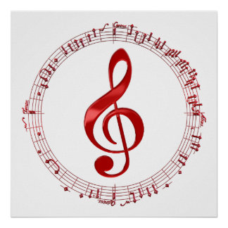 Red Treble Clef In Music Notes Poster