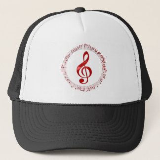 Red Treble Clef In Music Notes Trucker Hat