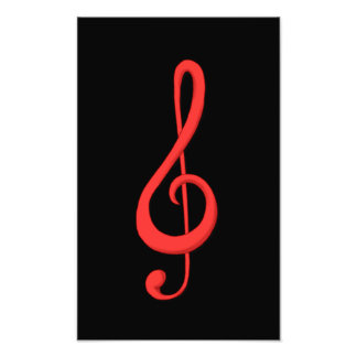 Red treble clef music illustration. photo print
